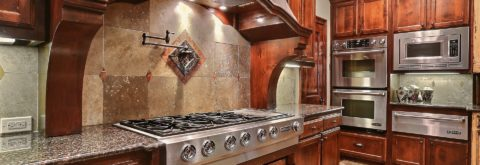 Beautiful Woodwork & Tile Backsplash